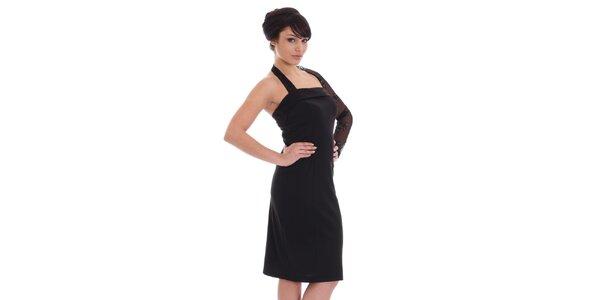 Dámské černé šaty s krajkovým rukávem SforStyle