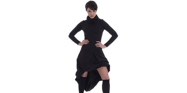 Dámské černé šaty s asymetrickou sukní SforStyle
