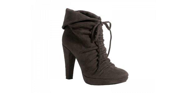 Kotníčkové šedo - hnědé boty se zavazováním