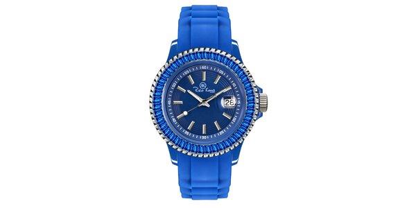 Modré hodinky se silikonovým páskem a datumovkou Riko Kona