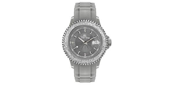Šedé analogové hodinky s kamínky Riko Kona