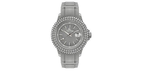 Šedé hodinky se silikonovým páskem a datumovkou Riko Kona