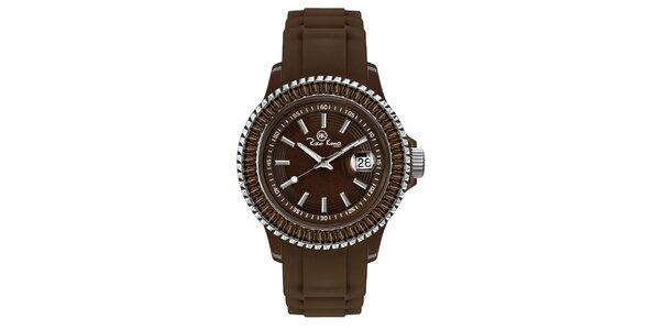 Hnědé hodinky se silikonovým páskem a datumovkou Riko Kona