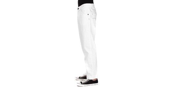 Pánské bílé džíny Take Two s černým prošíváním