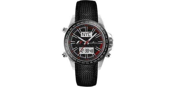 Pánské černé ocelové hodinky s chronografem Jacques Lemans