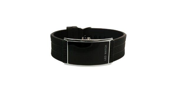 Černé minimalistické hodinky s led ciferníkem Titronic