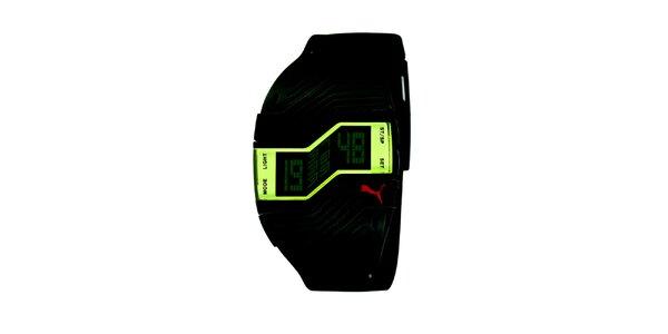 Černé plastové hodinky s klikatým ciferníkem Puma
