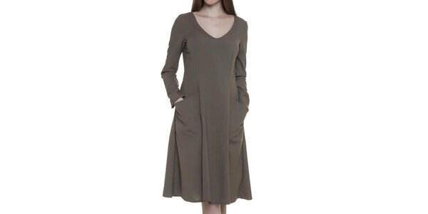 Dámské hnědé šaty s kapsami Gene