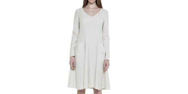 Dámské bílé šaty s kapsami Gene