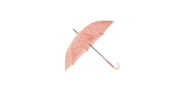 Elegantní červený deštník Ferré Milano s vanilkově žlutým grafickým vzorem
