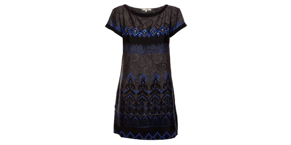 Dámské černé šaty Uttam Boutique s ornamentálním potiskem a korálky