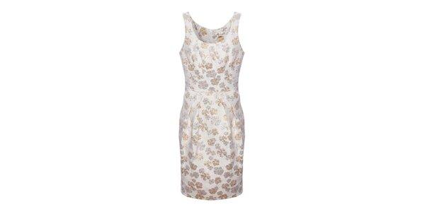 Dámské krémovo-béžové brokátové květované šaty Uttam Boutique