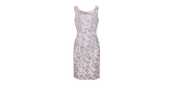 Dámské růžové brokátové květované šaty Uttam Boutique