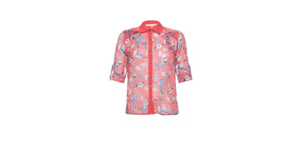Dámská korálově růžová blůzka Uttam Boutique s ptáčky