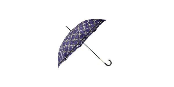 Elegantní fialový deštník Ferré Milano s béžovou mřížkou