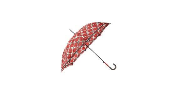 Elegantní červený deštník Ferré Milano s béžovou mřížkou