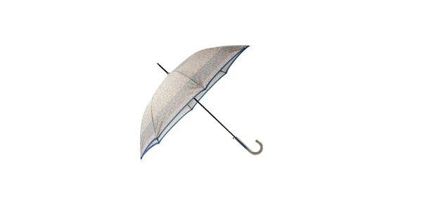 Elegantní stříbrný deštník Ferré Milano s modrým pruhem a vzorkem