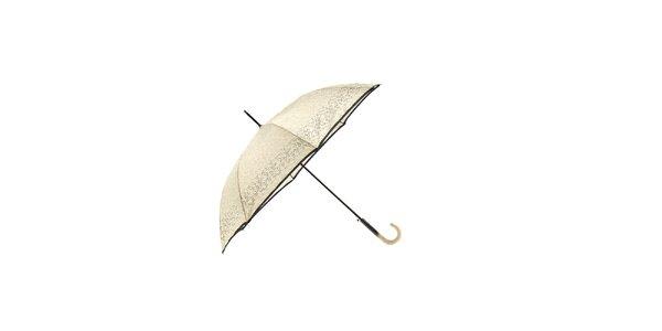 Elegantní béžový deštník Ferré Milano s černým pruhem a vzorkem