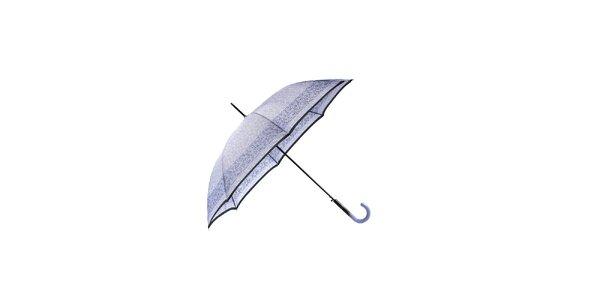 Elegantní fialový deštník Ferré Milano s černým pruhem a vzorkem
