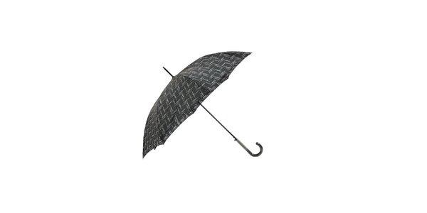 Elegantní černý deštník Ferré Milano s drobným grafickým vzorkem