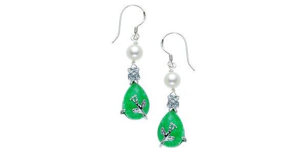 Náušnice Orchira s bílou perlou a zeleným nefritem