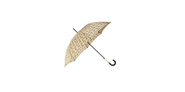 Elegantní vanilkově žlutý deštník Ferré Milano s drobným grafickým vzorkem