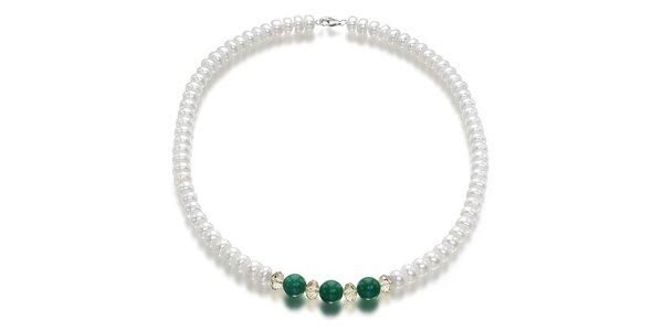 Bílý perlový náhrdelník Orchira se zeleným nefritem