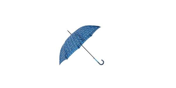 Elegantní modrý deštník Ferré Milano s drobným grafickým vzorkem