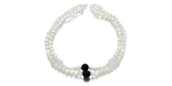 Bílé perly Orchira s onyxem