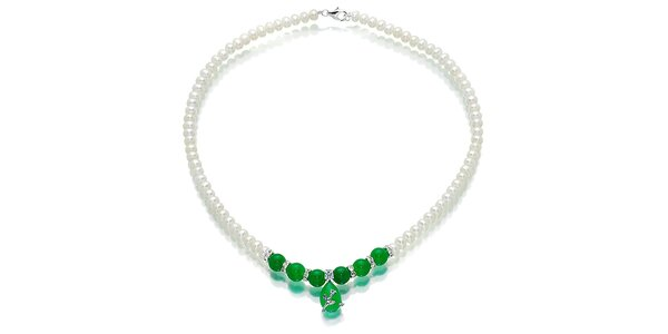 Bílý perlový náhrdelník Orchira