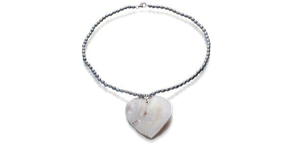 Perlový náhrdelník Orchira s velkým perleťovým srdcem
