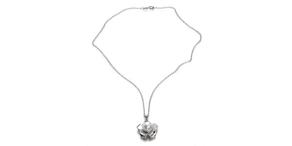 Stříbrný náhrdelník Orchira s bílou perlou