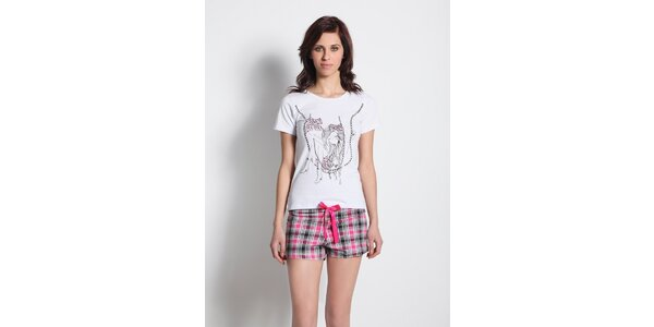 Dámské pyžamo - bílé tričko a kostkované kraťasy Maranda
