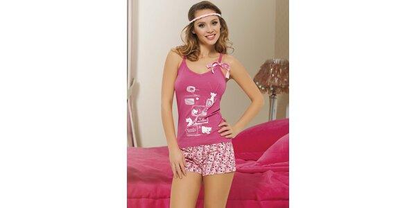 Dámské pyžamo - růžové tílko a puntíkaté kraťasy Maranda