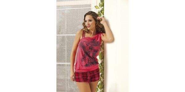 Dámské pyžamo - růžové tričko a kostkované kraťasy Maranda