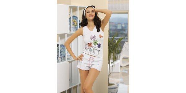 Dámské pyžamo - bílé tílko a bílé kraťasy Maranda