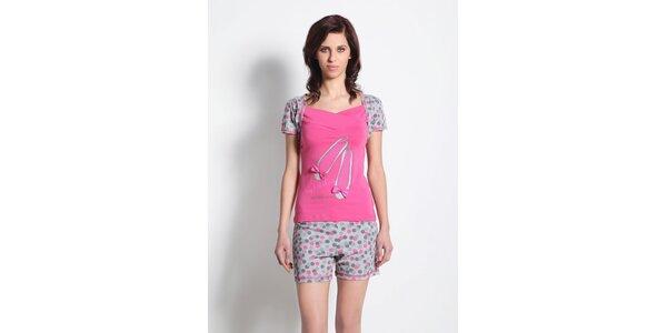 Dámské pyžamo - šedo-růžové triko a šedé kraťasy s puntíky Maranda