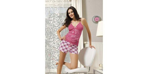Dámské pyžamo - růžové tílko a kostkované kraťasy Maranda