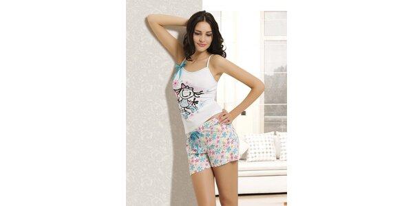 Dámské pyžamo - bílé tílko a květované kraťasy Maranda