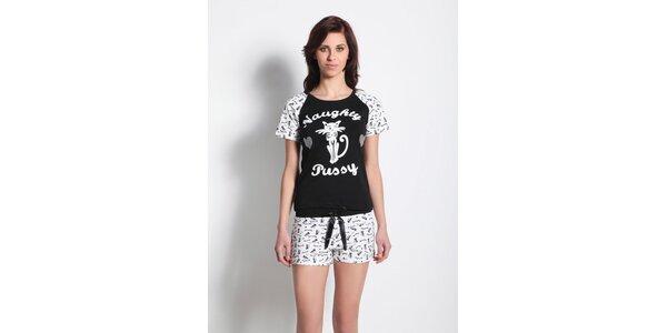 Dámské pyžamo - tričko s kočičkou a kraťasy Maranda