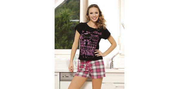 Dámské pyžamo - černé tričko a růžově kostkované kraťasy Maranda