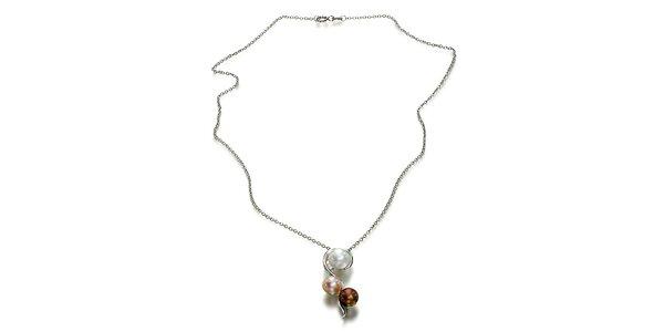 Stříbrný náhrdelník Orchira s bílou, broskvovou a čokoládovou perlou