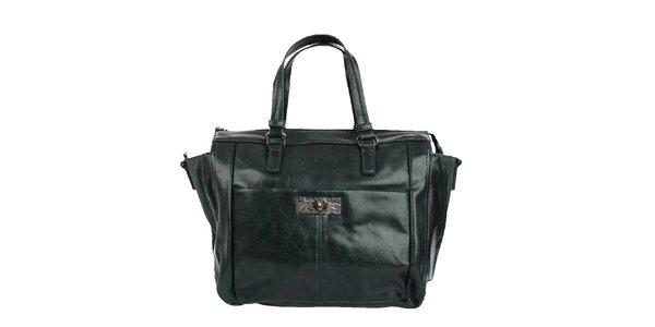 Dámská lahvově zelená lesklá kabelka Sisley se zipy