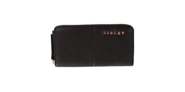 Dámská hnědá peněženka na zip s nápisem a prošíváním Sisley