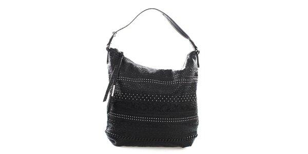 Dámská černá kabelka s pecičkami Sisley