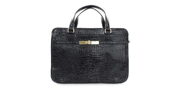 Dámská černá lesklá kufříková kabelka Sisley