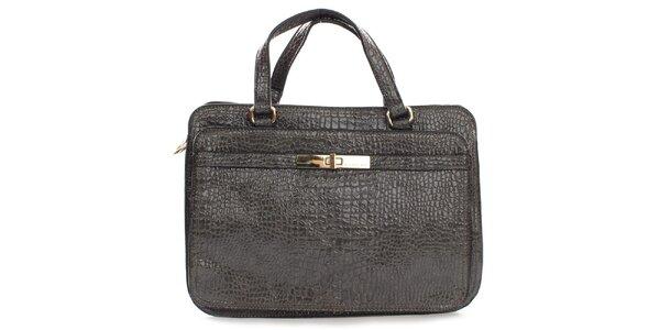 Dámská hnědá lesklá kufříková kabelka Sisley