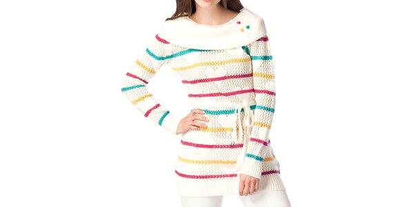 Dámský krémově bílý svetr s proužky ARS Collection