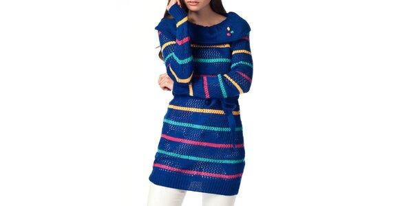 Dámský modrý svetr s proužky ARS Collection