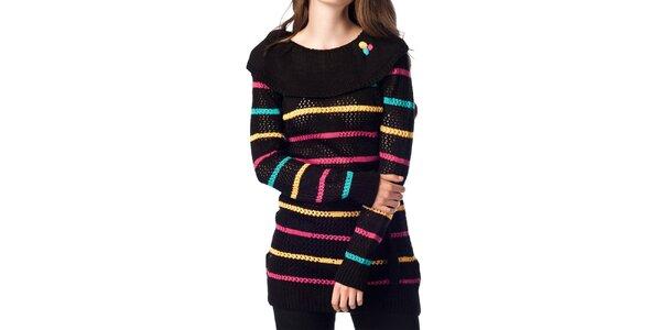 Dámský černý svetr s proužky ARS Collection